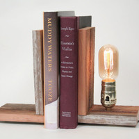 Book Ends Rustic Wood Lighting Bookends Wood by WorleysLighting