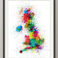 Great Britain UK Paint Splashes Map Art Print on Etsy