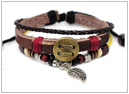 Rock Punk Style black Soft Leather Multiclour by braceletcool