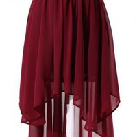 Wine Red Chiffon Hi-Low Asymmetric Skirt
