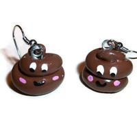 Happy Poo Polymer clay poop earrings, poop earrings, poop jewelry, gag gifts,