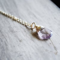 Light Purple Necklace Ametrine Gemstone Sterling Silver Pendant Violet Lilac Lavender Lavendar