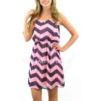 RESTOCKED! Everwood Pink & Navy Chevron Sheer Dress