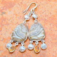 Ocean Jasper, Pearl and Citirne Earrings