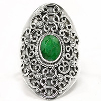 Emerald Sterling Silver Scroll Ring