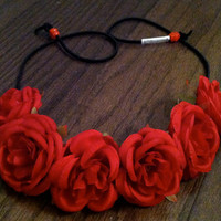 Red Rose Flower Headband, Flower Crown, Flower Halo, Festival Wear, EDC, Coachella, Ezoo,Ultra Music Festival, Rave