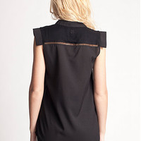 Cameo Sleeveless Blouse With Mandarin Collar in Floyd Black by Insight | Edge of Urge