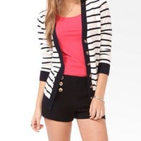 Tortoise Button Striped Cardigan