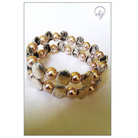 Light Brown Bead and Metal Bead Stretch Bracelet  - Upcycled Jewellery