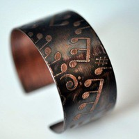 Musicians Etched Copper Cuff Bracelet on LoLoBu