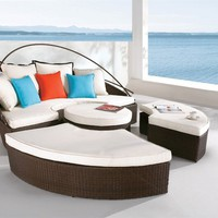 Round Modular Outdoor Lounger - OpulentItems.com
