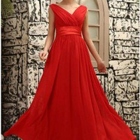 Modest V-neckline Red Cheap Prom Dress
