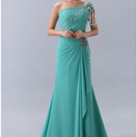 Modest Cap Sleeve Beaded Green Chiffon Formal Dress Prom Dress