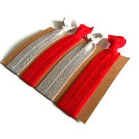 Elastic Hair Ties Red and Gray Yoga Hair Bands
