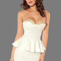 White Wrapped Stud Chest Mini Dress