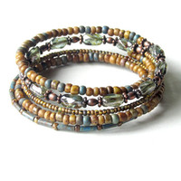 Beaded bracelet stack - gentle earth tone stacking bangles - wrap around 5x coil
