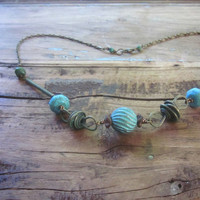 When Rustic meets Industrial Turquoise, Coconut wood and Verdigris Patina Brass necklace