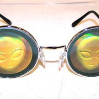 ALIEN HEAD HOLOGRAM SUNGLASSES aliens novelty glasses eyewear 3D NEW SHADES ufo