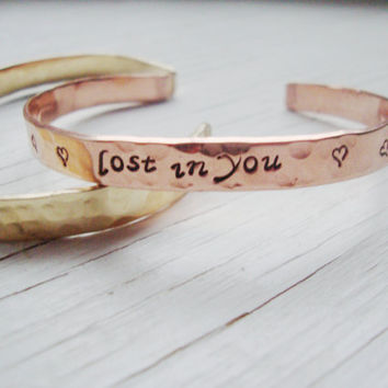 Lost in you hammered shiny copper cuff with hearts