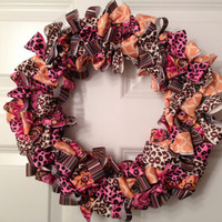 Leopard rockabilly ribbon wreath