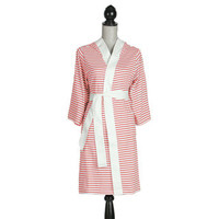 Women's Organic Cotton White and Rose Stripe Robe | Overstock.com