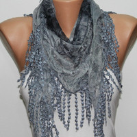 Gray Scarf  Headband Necklace Cowl with Lace Edge by by fatwoman/97117237/