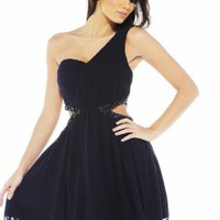 Navy One Shouldered Dress with Side Cutouts and Jewels