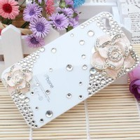 3d Bling Crystal Rhinestone Flower Case Cover for Apple Iphone 4 and 4s (Color: Pink): Cell Phones &amp; Accessories