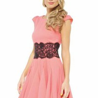 Coral Fit and Flare Dress with Lace Waist Overlay