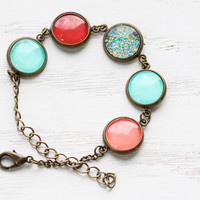 Mint, Red, Coral, and Aqua Glitter Bracelet