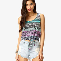 Tribal Print Tie-Front Top