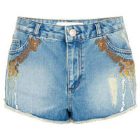 MOTO Giraffe Denim Hotpant - Shorts  - Clothing