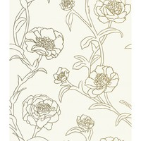 Tempaper Peonies Temporary Wallpaper - Gold Leaf