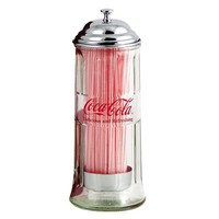 Coca-Cola Glass Straw Jar Dispenser Coke