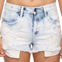 Vintage High Rise Acid Wash Denim Cutoffs