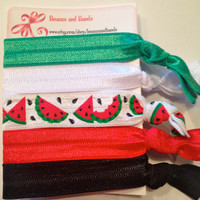 Watermelon Set - Elastic Hair Ties - Ponytail Holders