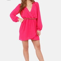 LULUS Exclusive Under Wraps Fuchsia Pink Wrap Dress