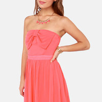 Cute the Breeze Strapless Coral Dress
