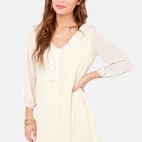Scroll-House Rock Cream Shift Dress