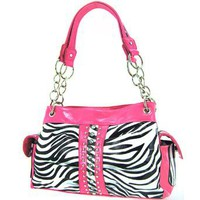 Amazon.com: Rhinestone Laminated Zebra Print Satchel Purse w/ Chain Handles (pink): Clothing