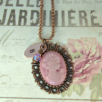 Hand Stamped Pink Cameo Initial Necklace, Mother's Day | Luulla