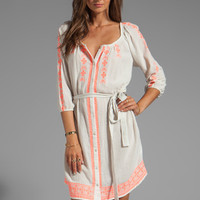 Velvet Farley Embroidered Crinkle Gauze Dress in Milk/Coral from REVOLVEclothing.com