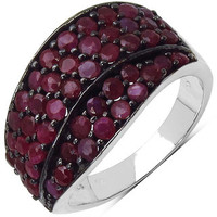 Malaika Sterling Silver Red Ruby Ring | Overstock.com