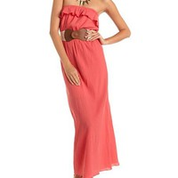 Belted Ruffle Bust Maxi Dress: Charlotte Russe