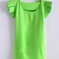 Sweet Scoop Neck Solid Color Ruffle Bell Sleeves Chiffon T-Shirt For Women