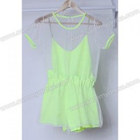 Scoop Neck Voile Splicing Short Sleeves Chiffon Sweet Style Jumpsuit For Women