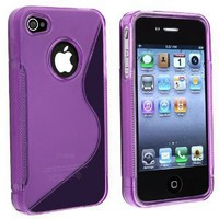 TPU Rubber Skin Case Compatible With Apple iPhone 4, Clear Dark Purple S Shape