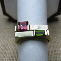 14k Tourmaline Stack Rings 7.34g Size 7 Pink and Green Tourmaline
