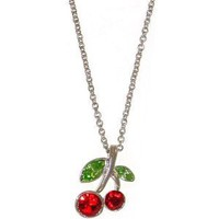 Cherry Necklace with Swarovski Crystals In Red with Silver Finish