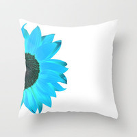 blue summer Throw Pillow by Steffi~findsFUNDSTUECKE